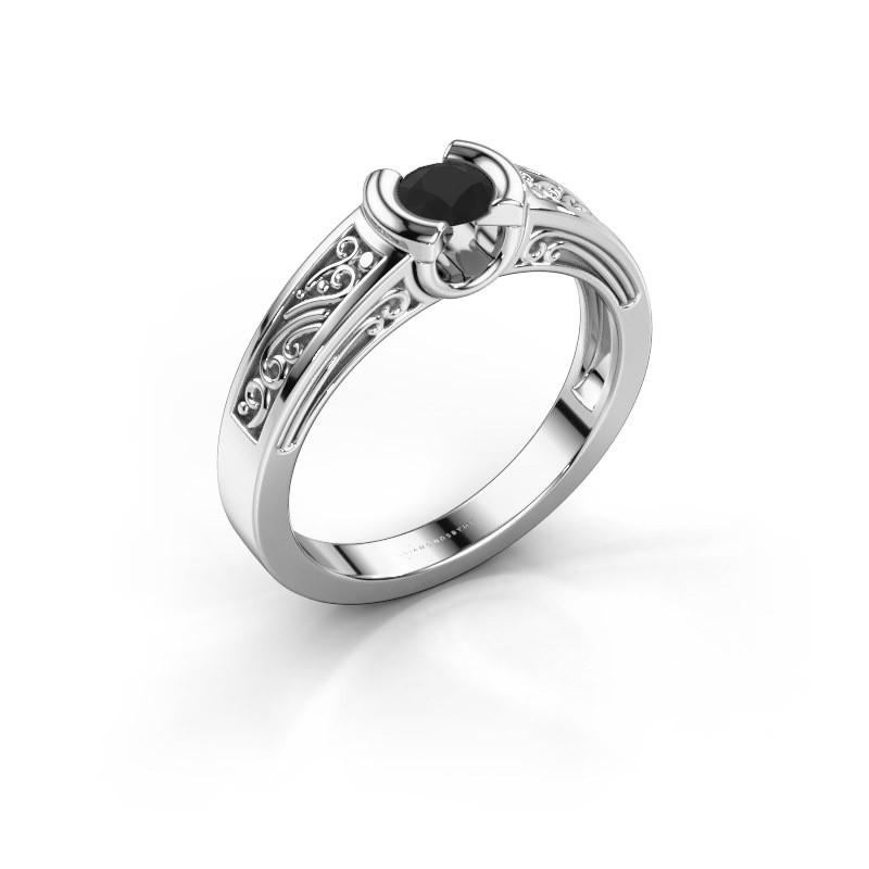Ring Elena 585 witgoud zwarte diamant 0.30 crt