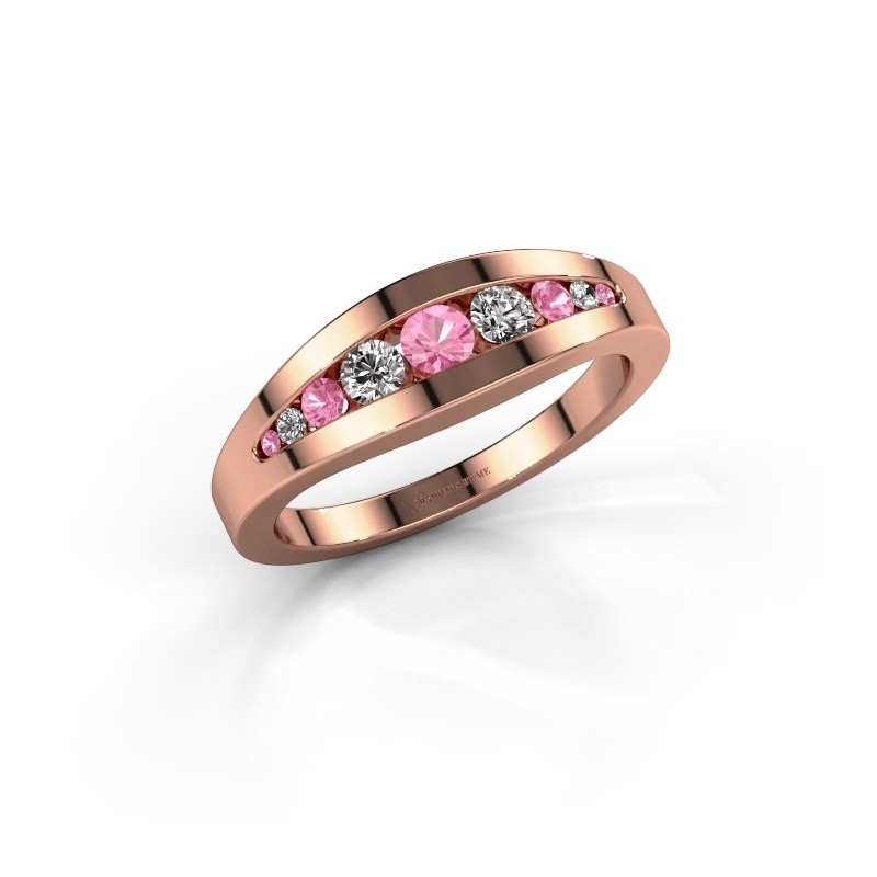 Ring Oneida 375 rosé goud roze saffier 3 mm
