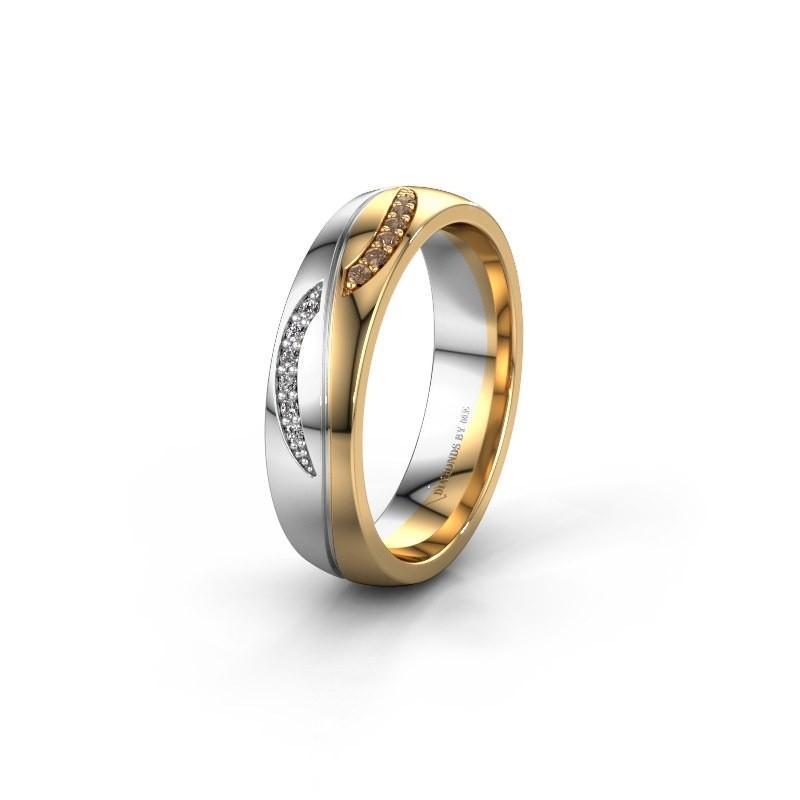Trouwring WH2118L25A 585 goud bruine diamant ±5x1.7 mm