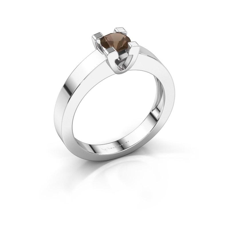 Promise ring Anne 1 950 platina rookkwarts 4.7 mm