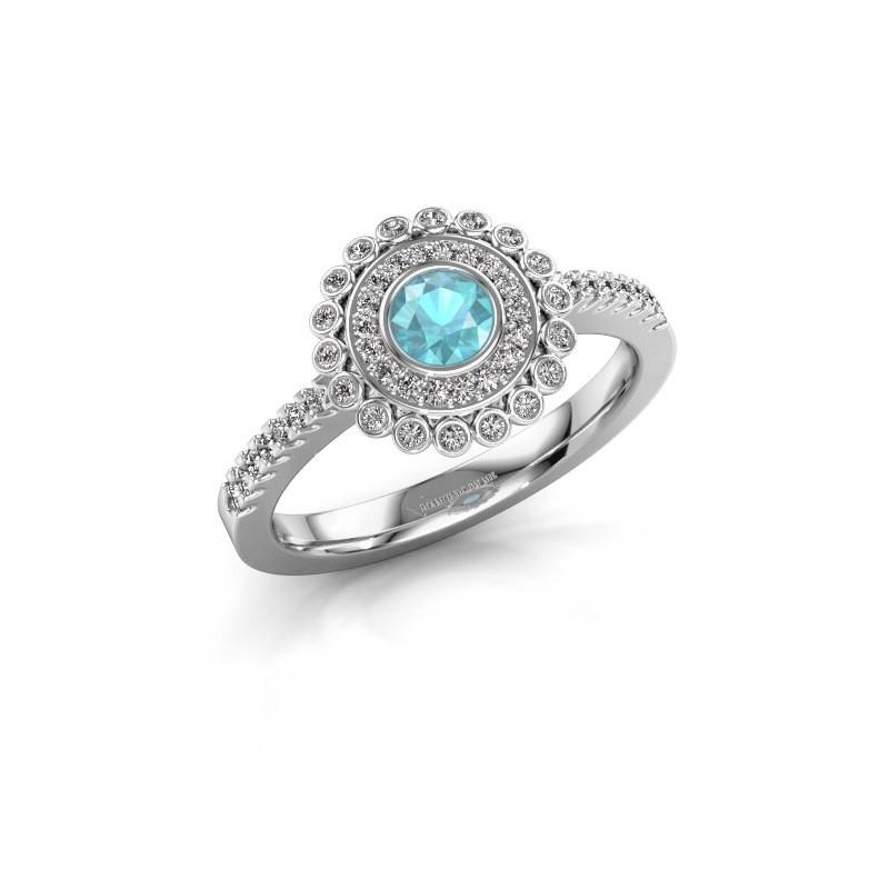 Verlobungsring Shanelle 925 Silber Blau Topas 4 mm
