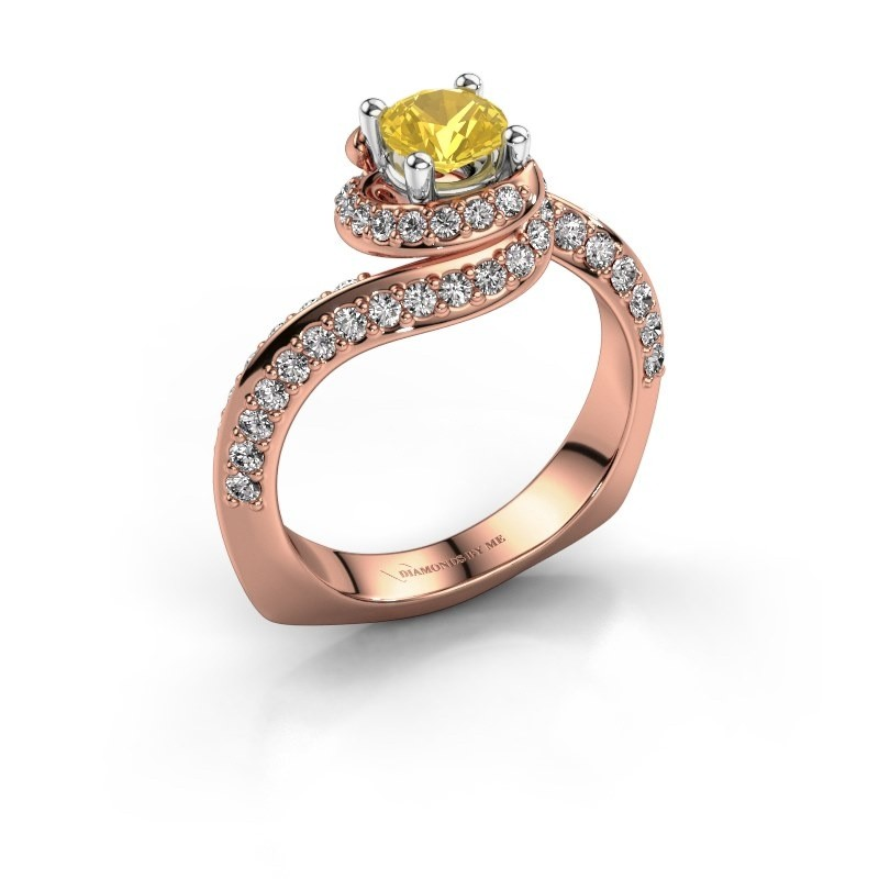 Engagement ring Sienna 585 rose gold yellow sapphire 5 mm