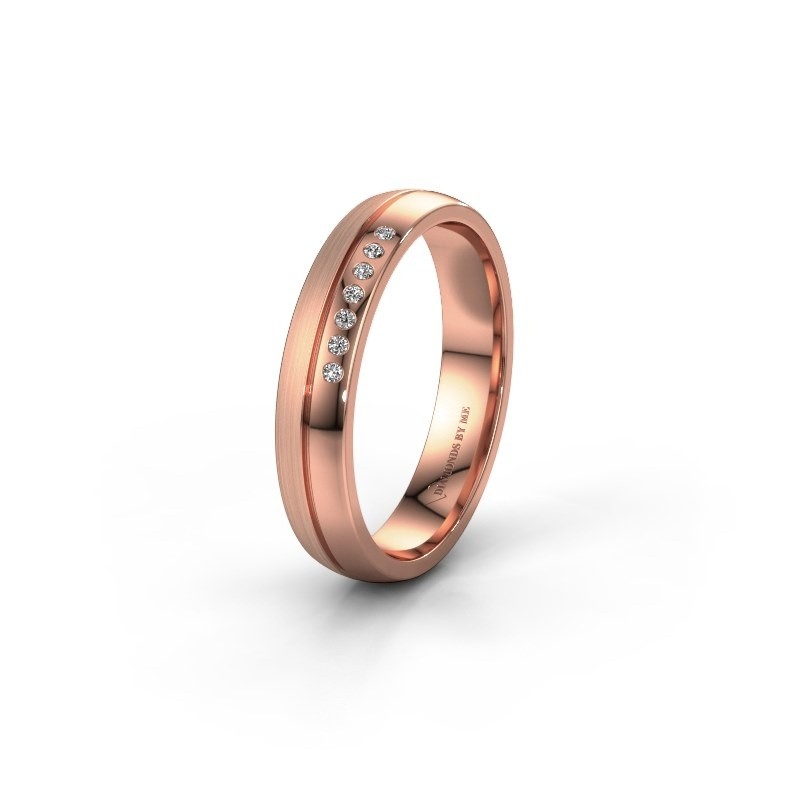 Trouwring WH0216L24APM 585 rosé goud lab-grown diamant ±4x1.7 mm