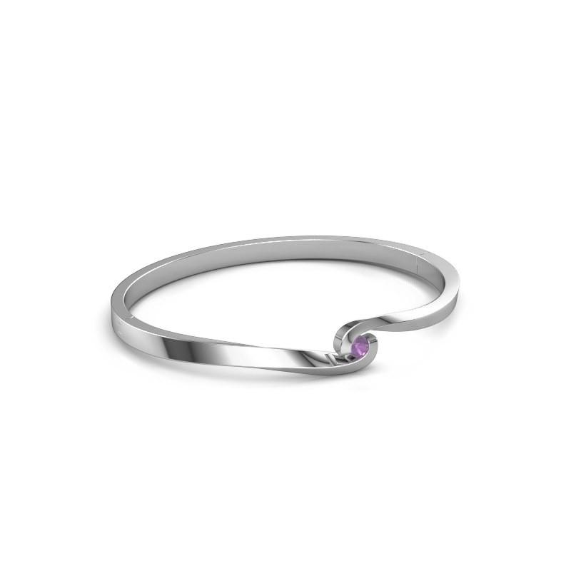 Bracelet jonc Sheryl 585 or blanc améthyste 3.7 mm