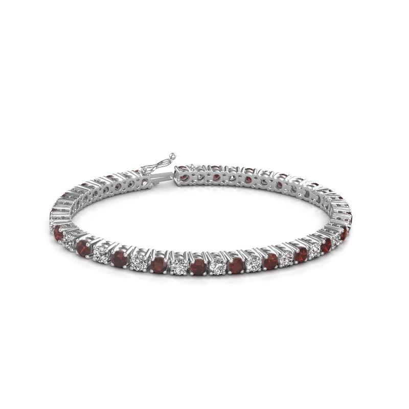 Tennis bracelet Karin 375 white gold garnet 4 mm