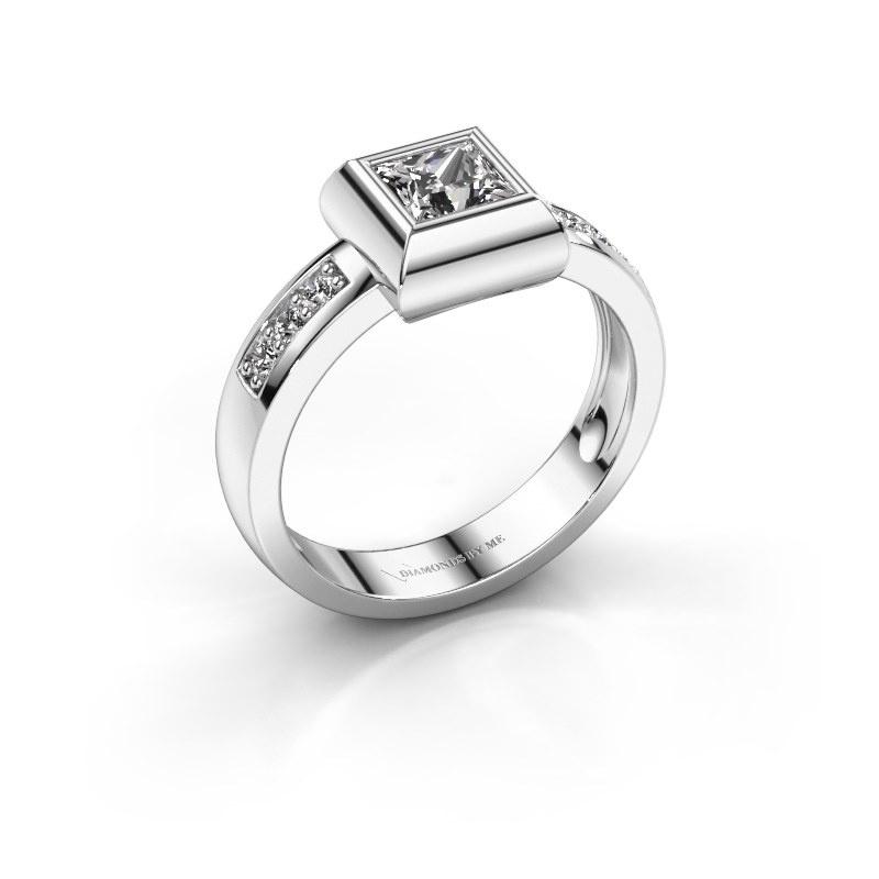 Ring Charlotte Square 925 silver diamond 0.40 crt