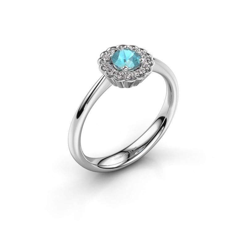 Verlovingsring Debi 950 platina blauw topaas 4.2 mm