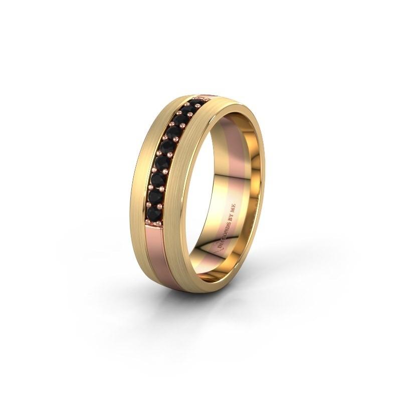 Trouwring WH0413L26APM 585 rosé goud zwarte diamant ±6x1.7 mm