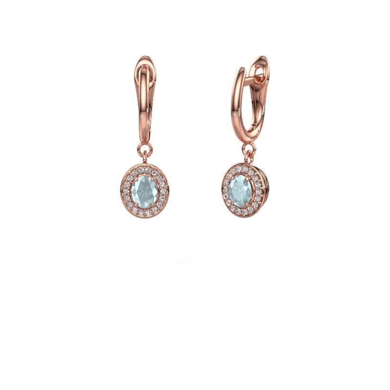 Drop earrings Nakita 375 rose gold aquamarine 5x4 mm