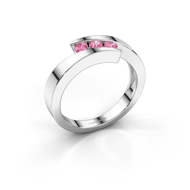 Ring Gracia 585 witgoud roze saffier 2.7 mm