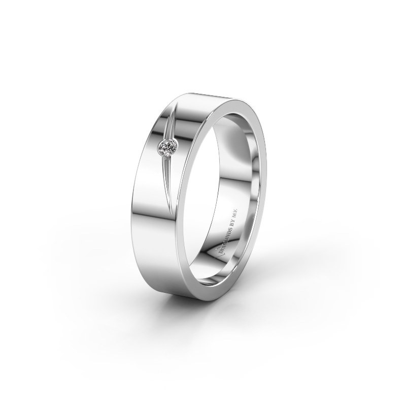 Trouwring WH0170L15A 585 witgoud diamant ±5x1.7 mm