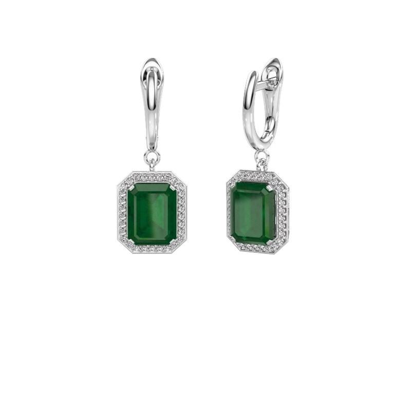 Drop earrings Dodie 1 585 white gold emerald 9x7 mm