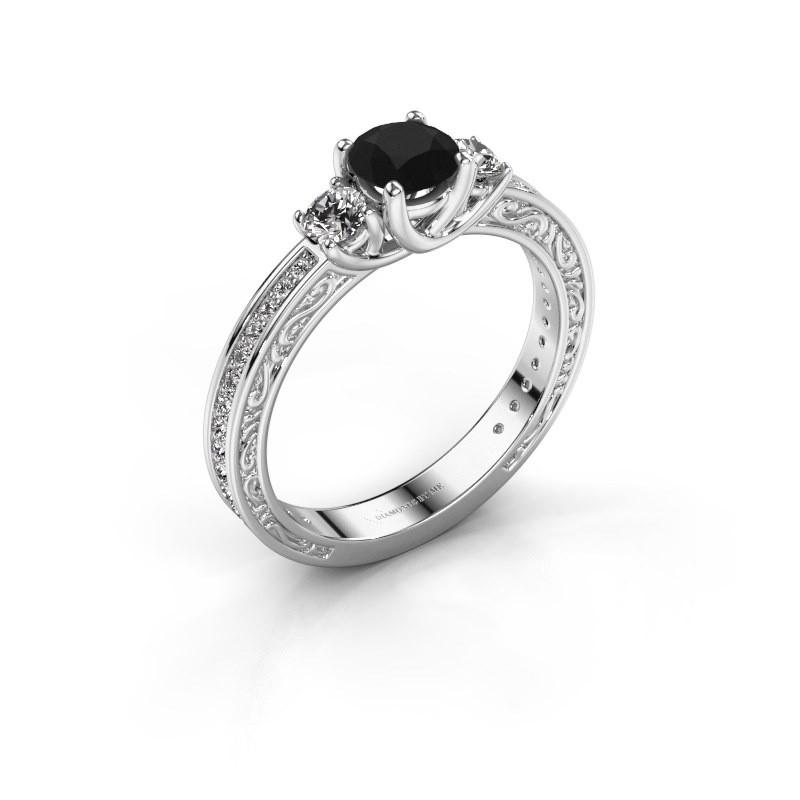 Verlovingsring Betty 2 585 witgoud zwarte diamant 1.057 crt