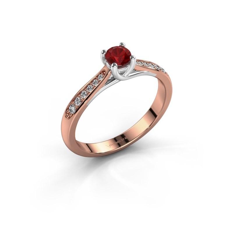 Verlovingsring Mia 2 585 rosé goud robijn 4.2 mm