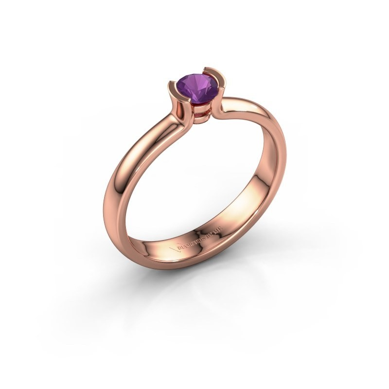 Engagement ring Ophelia 375 rose gold amethyst 4 mm