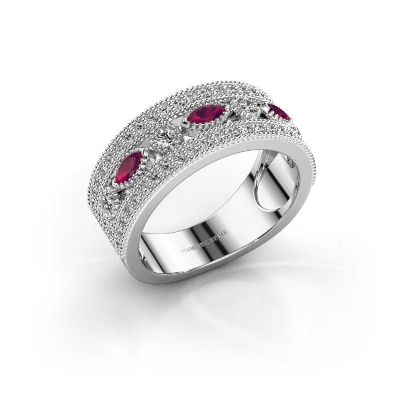 Ring Henna 585 witgoud rhodoliet 4x2 mm