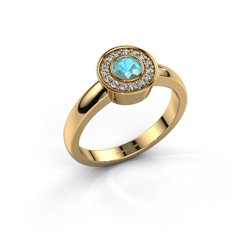 Ring Adriana 1 585 goud blauw topaas 4 mm