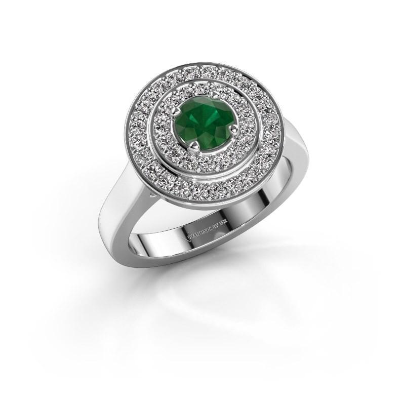 Ring Alecia 1 585 witgoud smaragd 5 mm