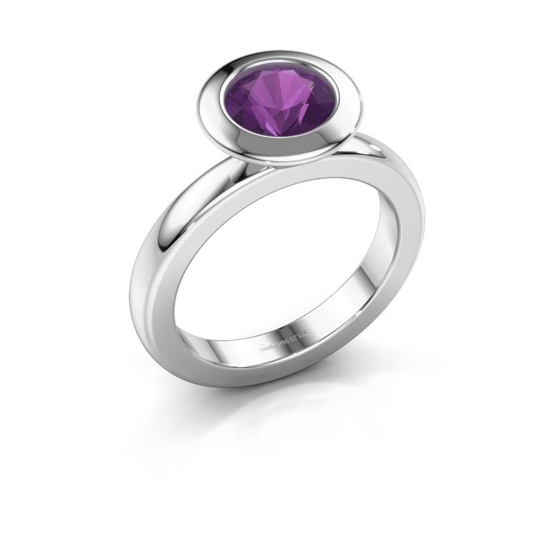 Stacking ring Trudy Round 925 silver amethyst 7 mm