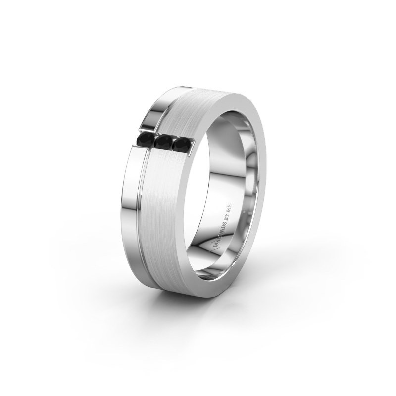 Trouwring WH0327L16B 950 platina zwarte diamant ±6x2 mm