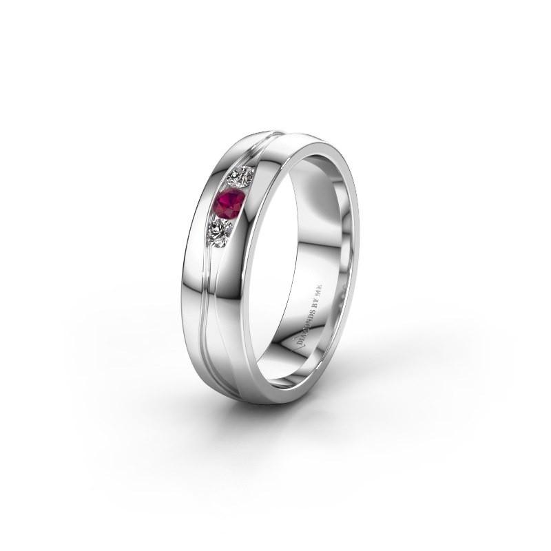Wedding ring WH0172L25A 950 platinum rhodolite ±0.20x0.07 in