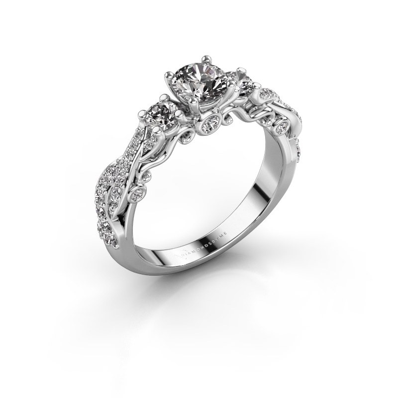 Verlovingsring Kourtney 585 witgoud diamant 1.056 crt