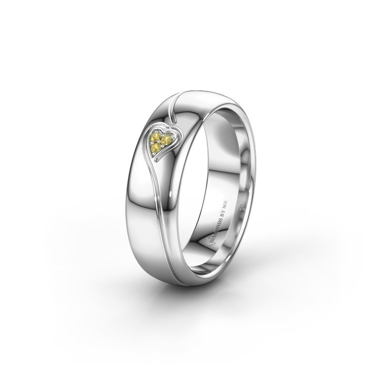 Wedding ring WH0168L36AP 585 white gold yellow sapphire ±0.24x0.07 in