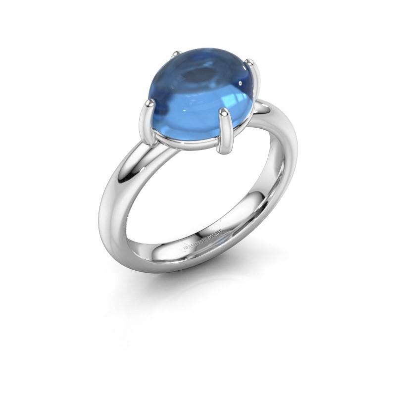 Ring Melodee 925 zilver blauw topaas 10x8 mm
