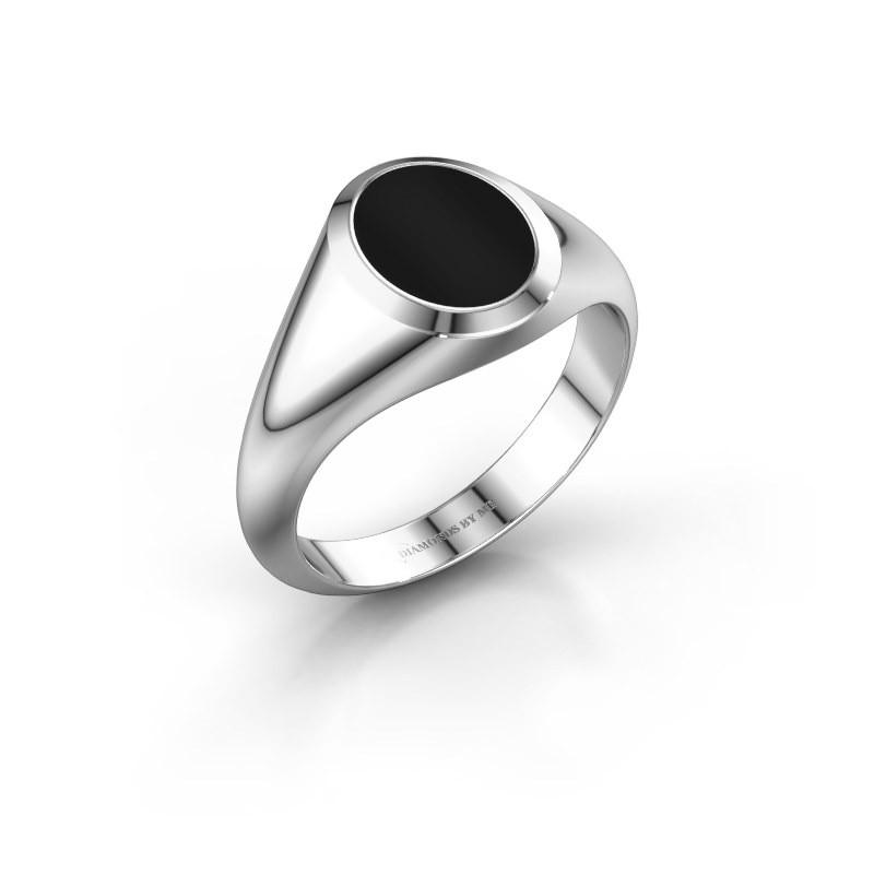 Signet ring Evon 1 375 white gold onyx 10x8 mm