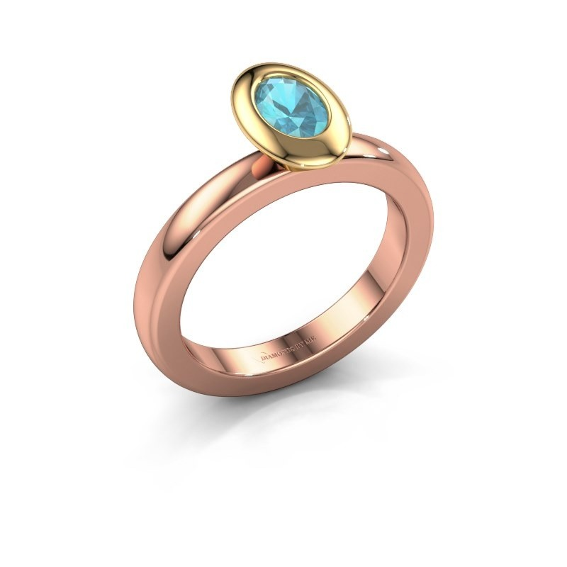Stapelring Trudy Oval 585 rosé goud blauw topaas 6x4 mm