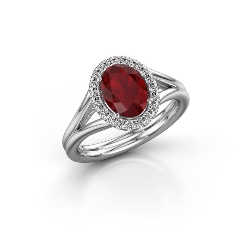 Engagement ring Rachele 1 950 platinum ruby 8x6 mm