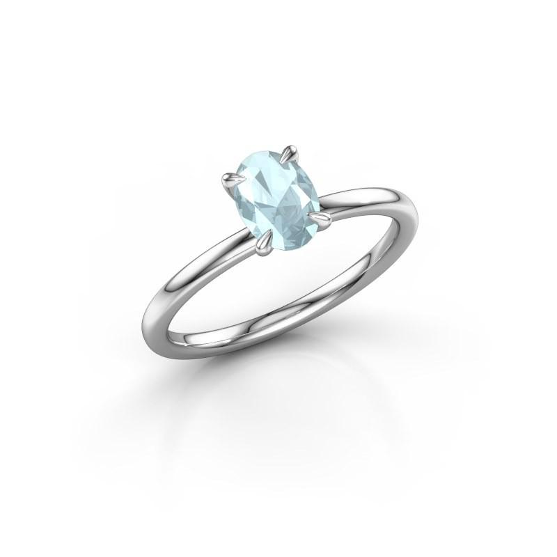Verlovingsring Crystal OVL 1 925 zilver aquamarijn 7x5 mm
