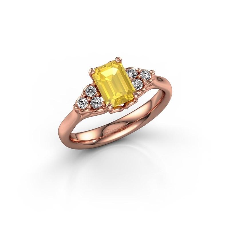 Aanzoeksring Myrna EME 375 rosé goud gele saffier 7x5 mm