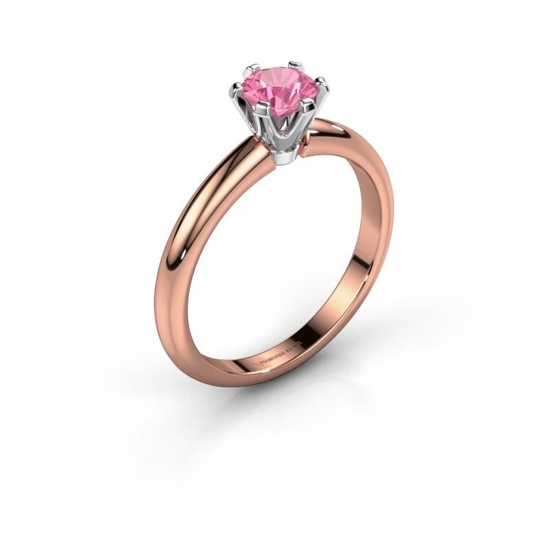 Verlovingsring Tiffy 1 585 rosé goud roze saffier 5 mm