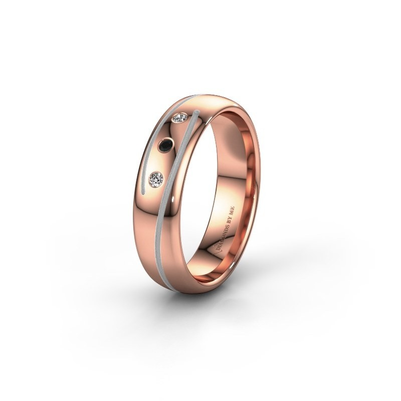 Wedding ring WH0152L25A 585 rose gold black diamond ±0.20x0.07 in