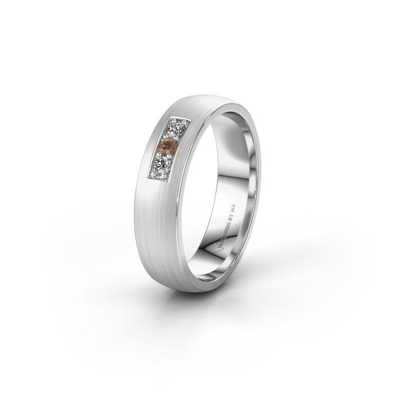 Trouwring WH0110L25AM 375 witgoud bruine diamant ±5x1.7 mm