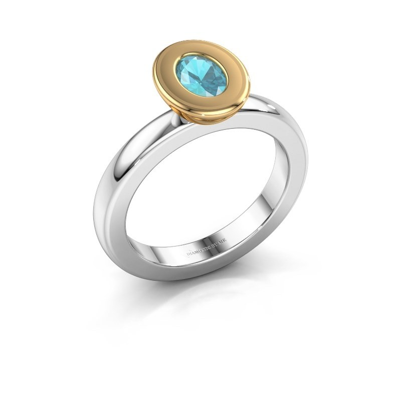 Stapelring Eloise Oval 585 witgoud blauw topaas 6x4 mm