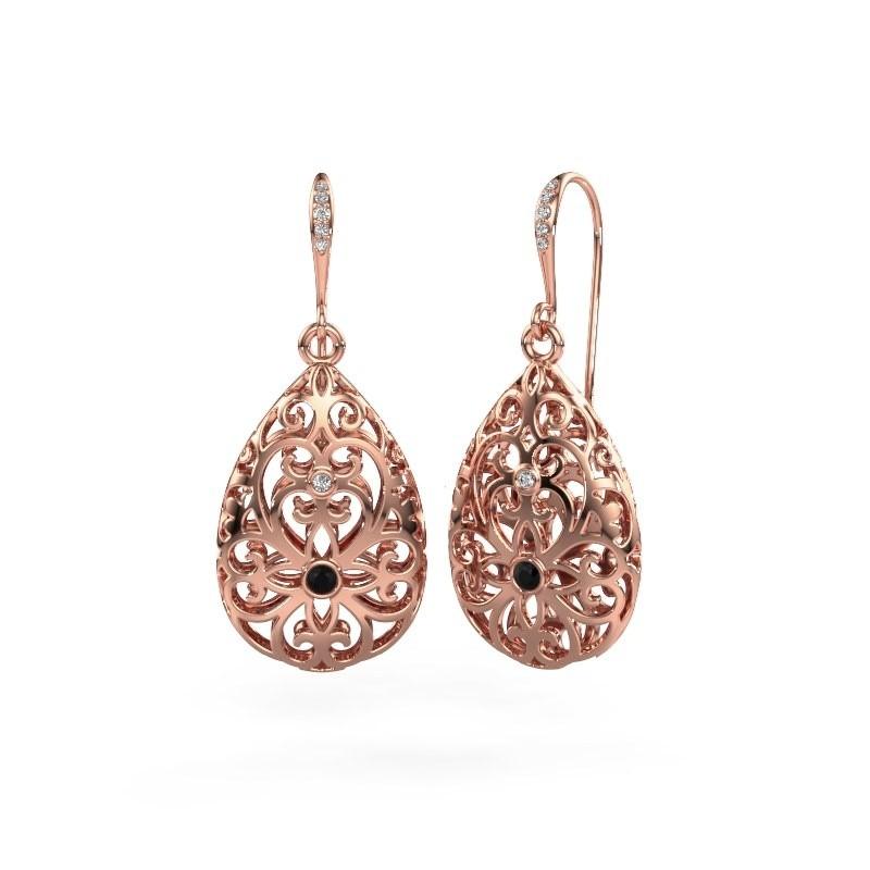 Oorhangers Idalia 2 375 rosé goud zwarte diamant 0.117 crt