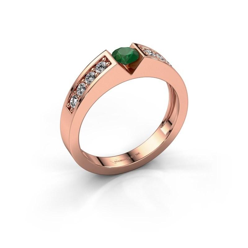 Verlovingsring Lizzy 2 375 rosé goud smaragd 4.2 mm