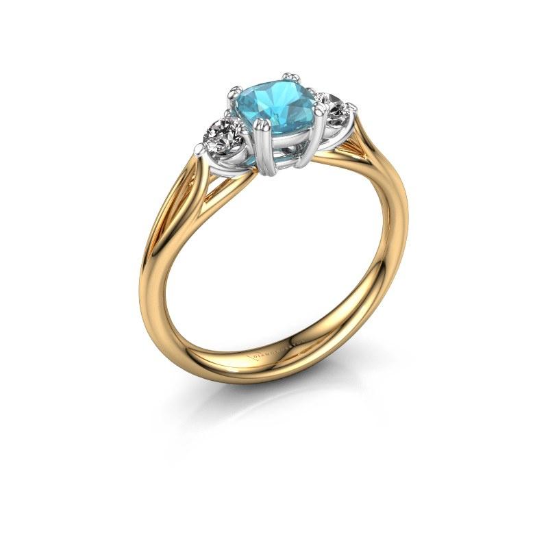 Verlovingsring Amie cus 585 goud blauw topaas 5 mm