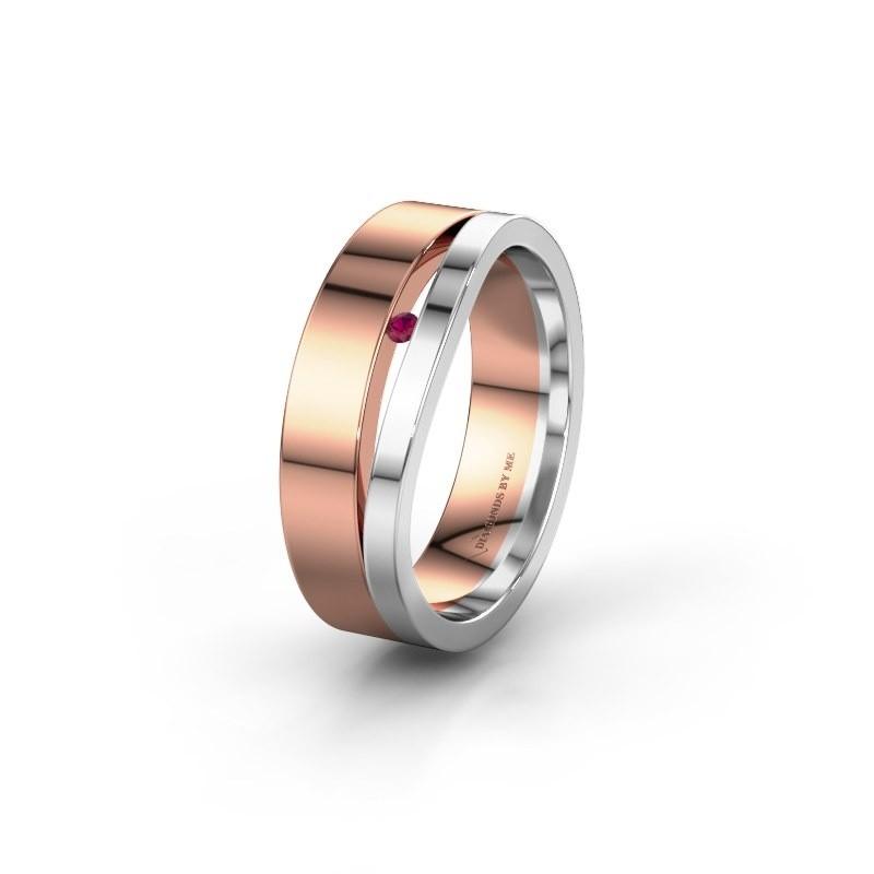 Trouwring WH6000L16AP 585 rosé goud rhodoliet ±6x1.7 mm