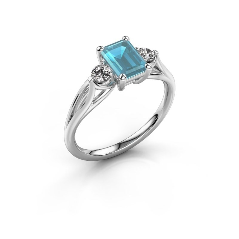 Verlovingsring Amie EME 950 platina blauw topaas 7x5 mm