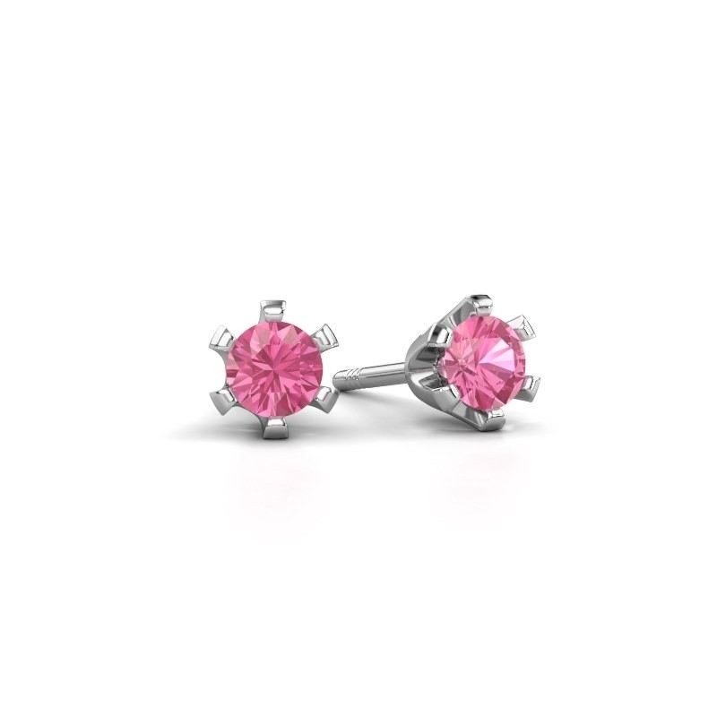 Oorstekers Shana 950 platina roze saffier 4 mm