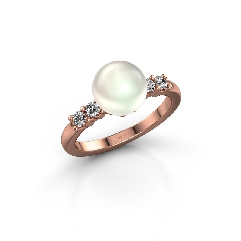 Ring Cecile 375 rosé goud witte parel 8 mm