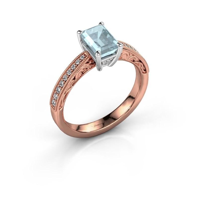 Verlovingsring Shonta EME 585 rosé goud aquamarijn 7x5 mm