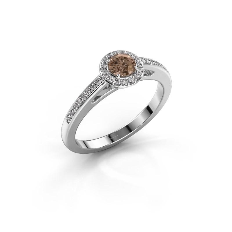 Verlovingsring Aaf 585 witgoud bruine diamant 0.46 crt