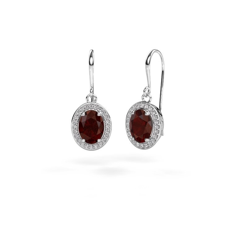 Drop earrings Latesha 375 white gold garnet 8x6 mm