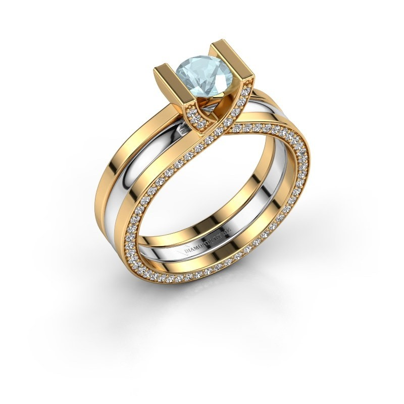 Verlovingsring Kenisha 585 goud aquamarijn 5 mm