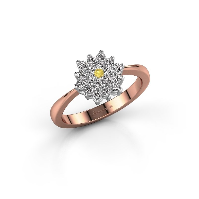 Engagement ring Vickey 1 585 rose gold yellow sapphire 1.8 mm