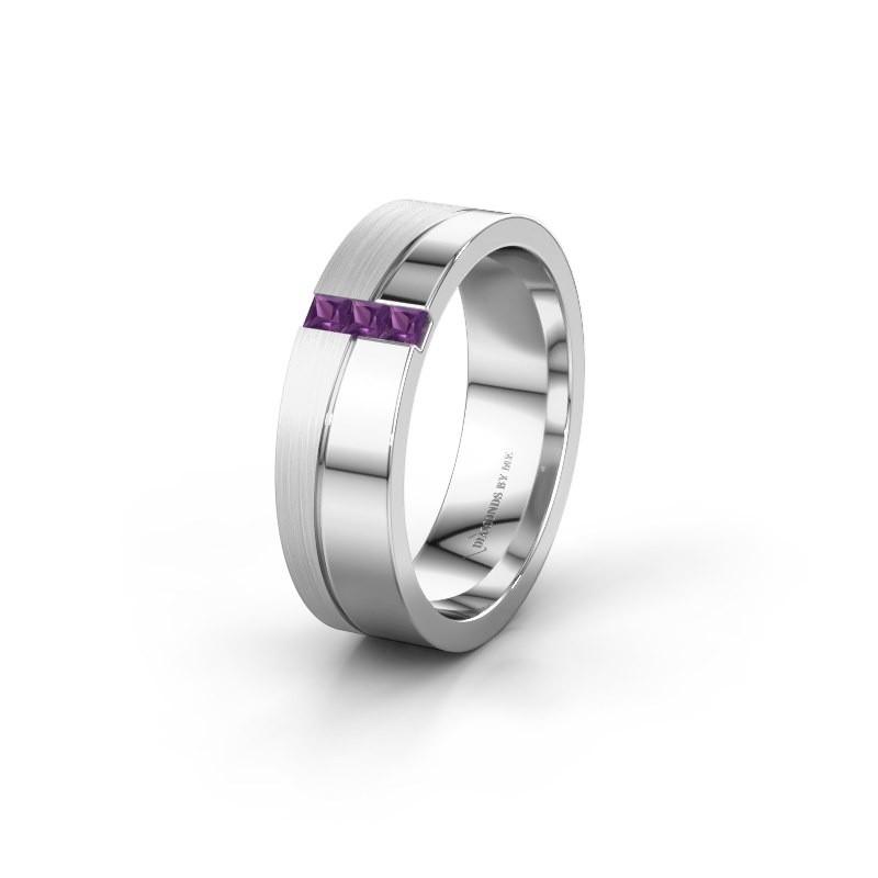 Wedding ring WH0906L16A 925 silver amethyst ±0.24x0.07 in